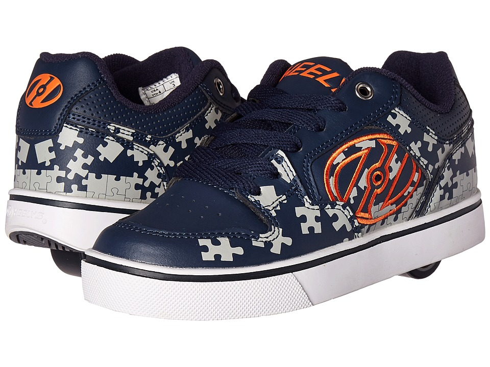 Heelys - Motion Plus (Little Kid/Big Kid/Adult) (Navy/Grey/Orange) Boy's Shoes