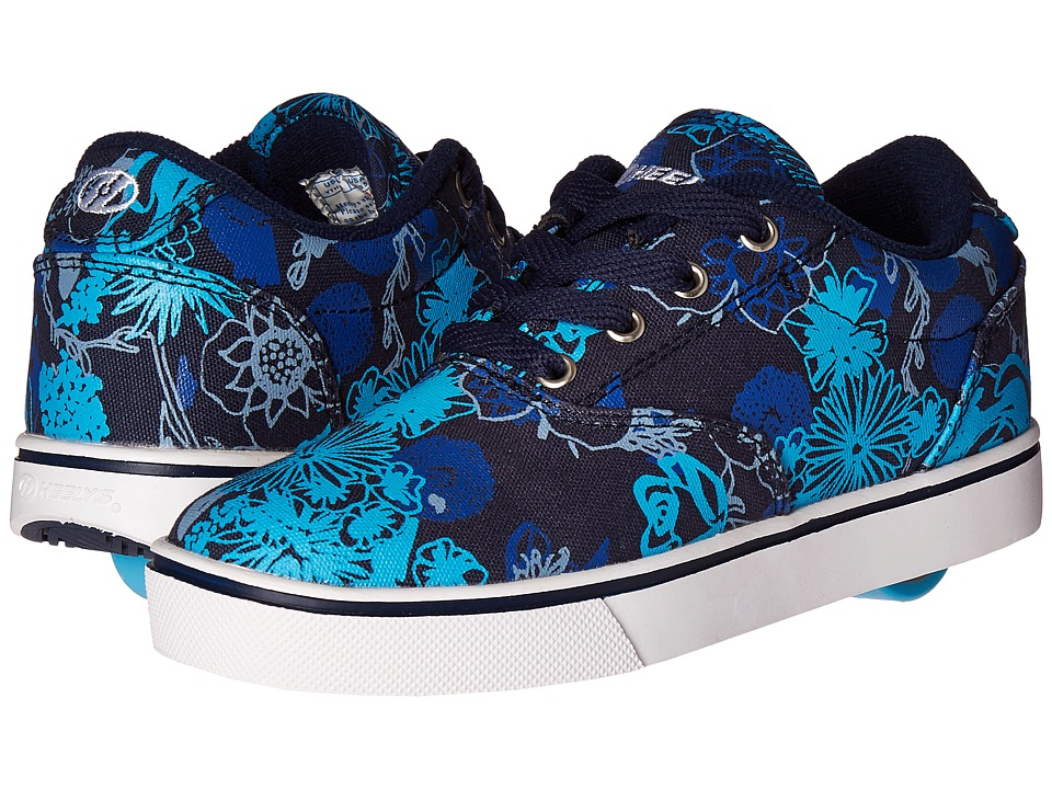 Heelys - Launch (Little Kid/Big Kid/Adult) (Navy/Aqua/Floral) Girls Shoes