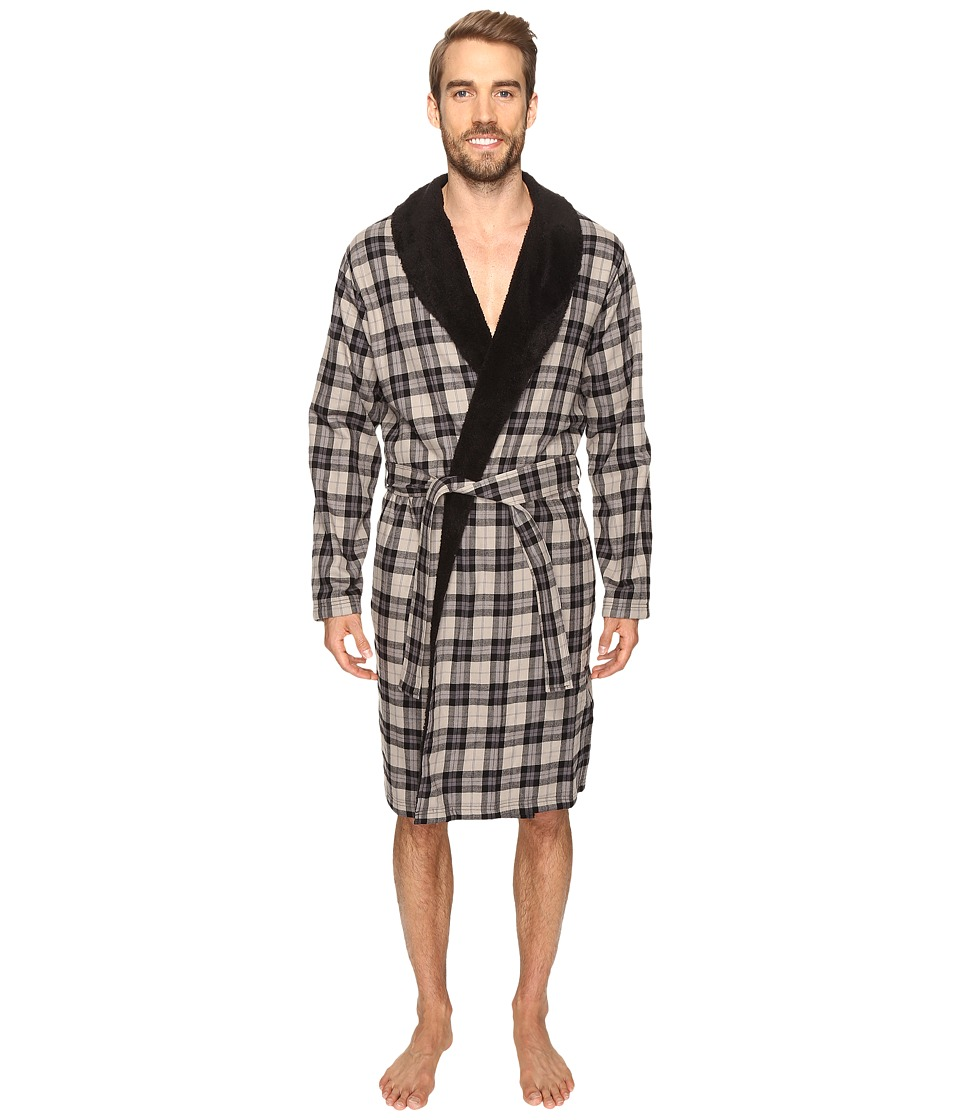 UGG - Kalib Shawl Collar Robe (Plaid Black) Men's Robe