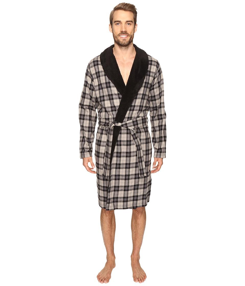 UGG - Kalib Shawl Collar Robe (Plaid Black) Men's Robe