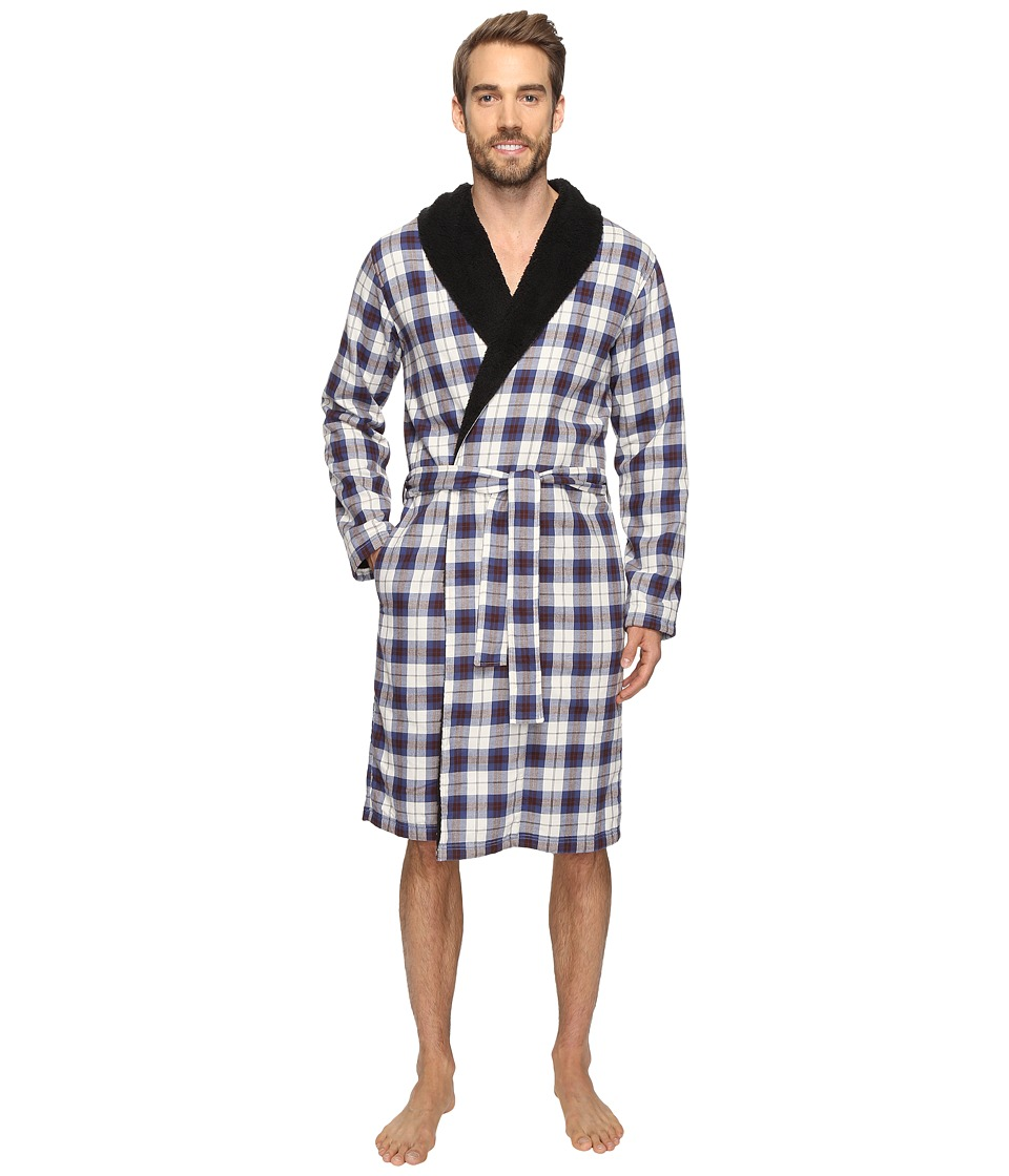 UGG - Kalib Shawl Collar Robe (Plaid Navy) Men's Robe