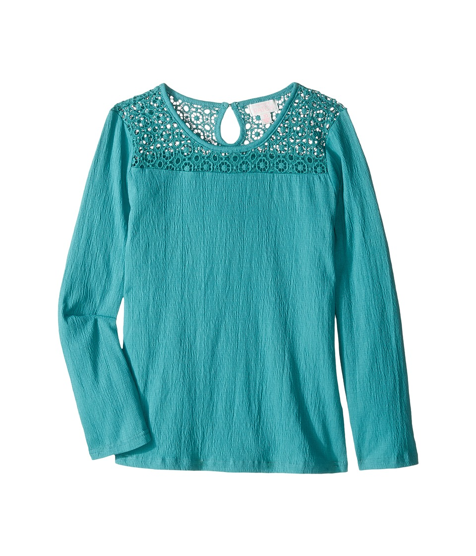 Pumpkin Patch Kids - Crinkle Yoke Lace Top (Little Kids/Big Kids) (Bristol Blue) Girl's Clothing