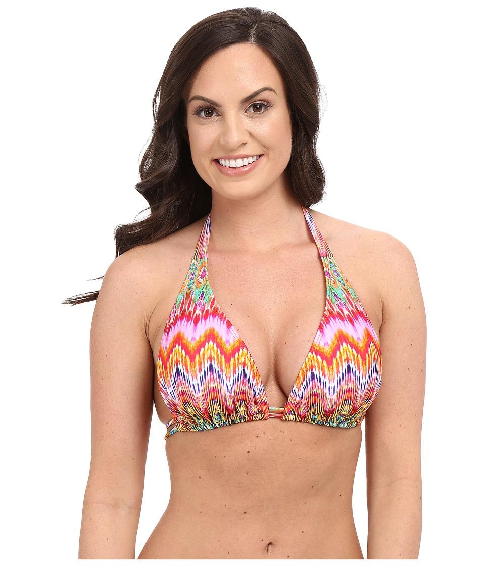 Luli Fama - Sunkissed Laughter D/DD Cup Triangle Halter Top (Multicolor) Women's Swimwear