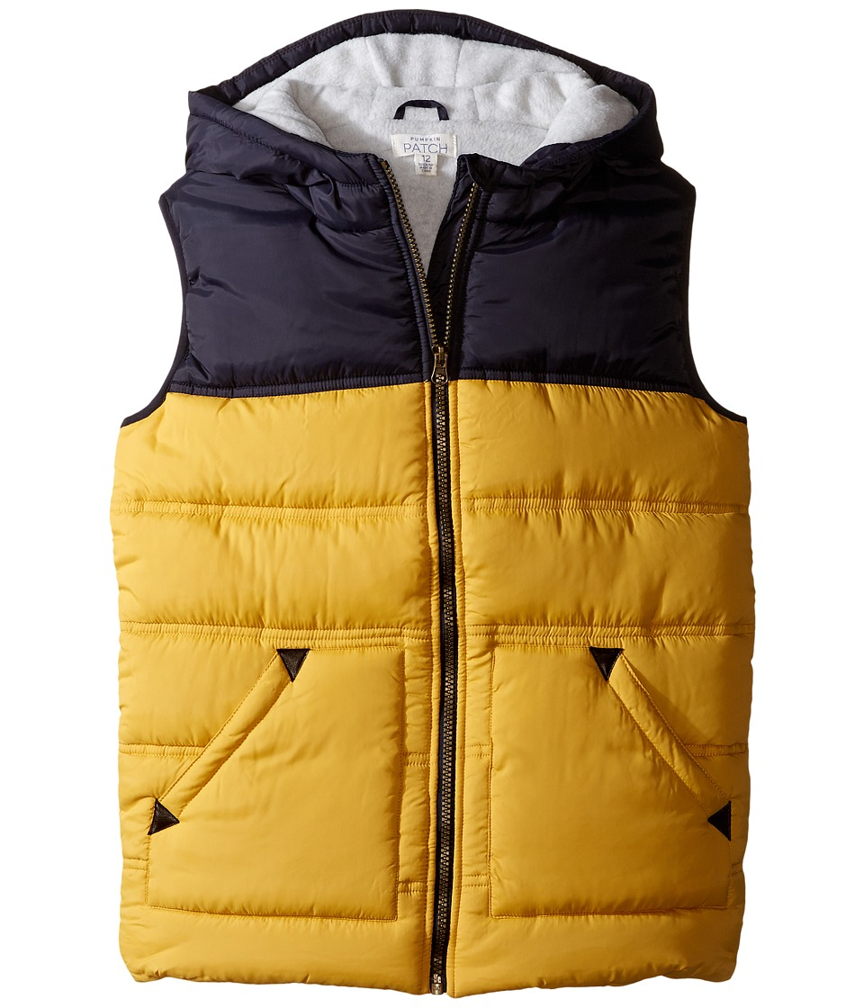 Pumpkin Patch Kids - Hooded Spliced Puffer Vest (Little Kids/Big Kids) (Jojoba) Boy's Vest