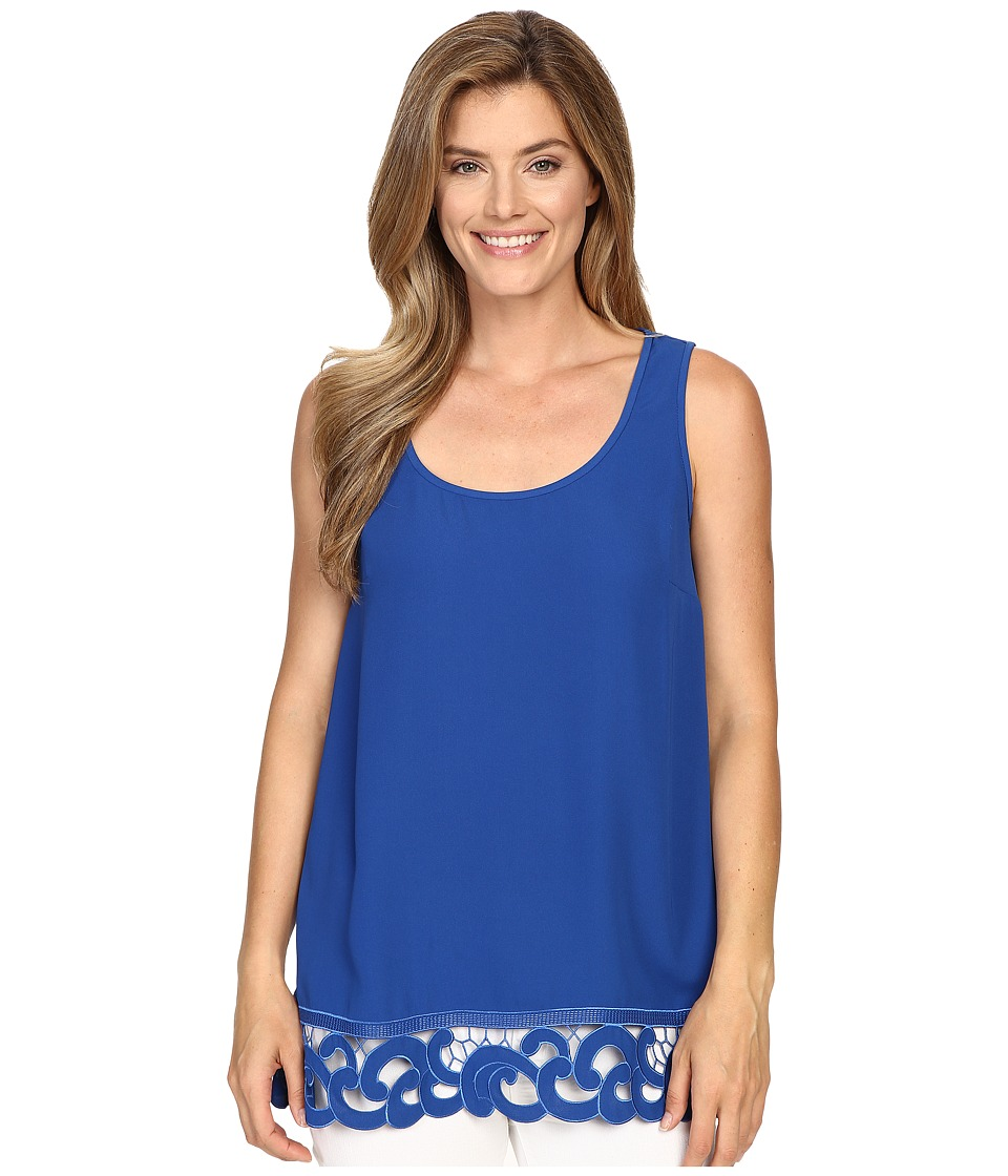 Adrianna Papell - Crepe Tank Blouse with Embroidered Border (Deep Ocean) Women's Blouse