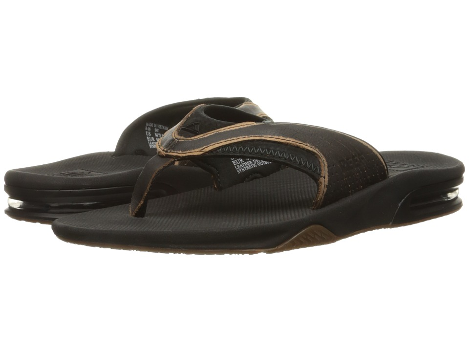 Reef Leather Fanning Lux (Worn Black) Men