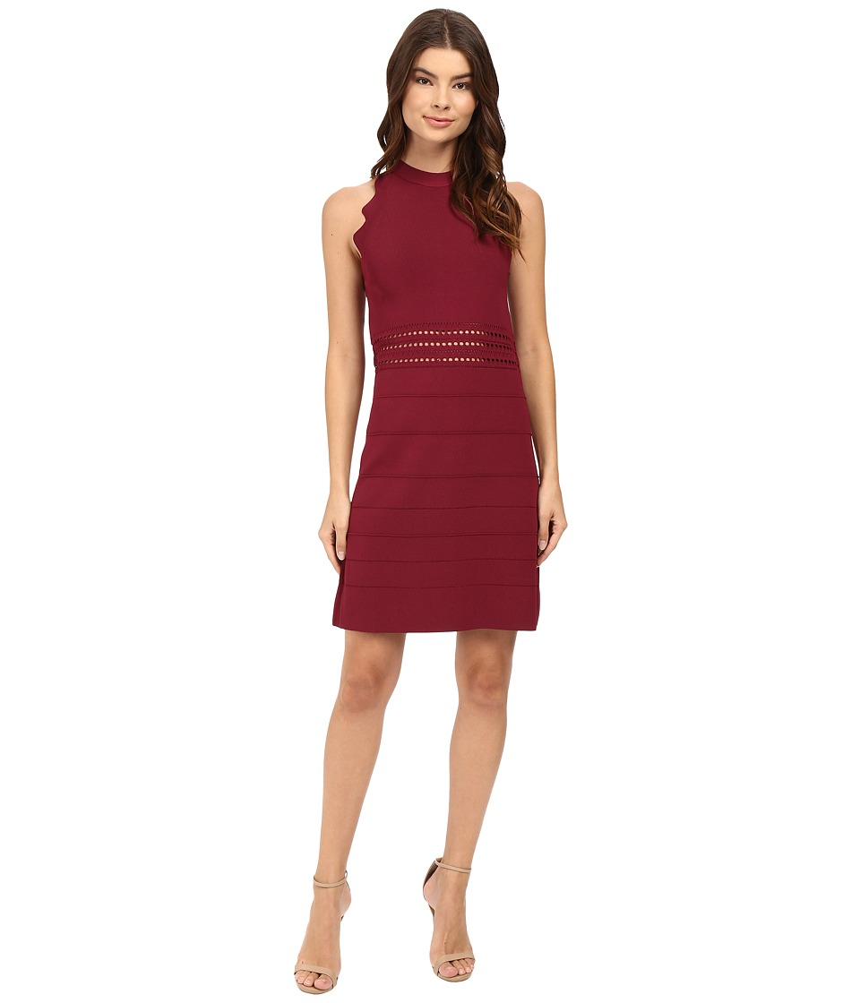 Ted Baker - Natleah Scallop Detailed Dress (Oxblood) Women's Dress