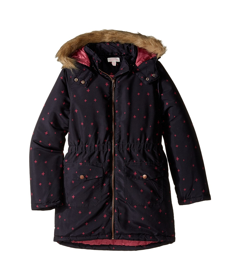 Pumpkin Patch Kids - Fur Trim Hooded Padded Coat (Little Kids/Big Kids) (Black Wash) Girl's Coat
