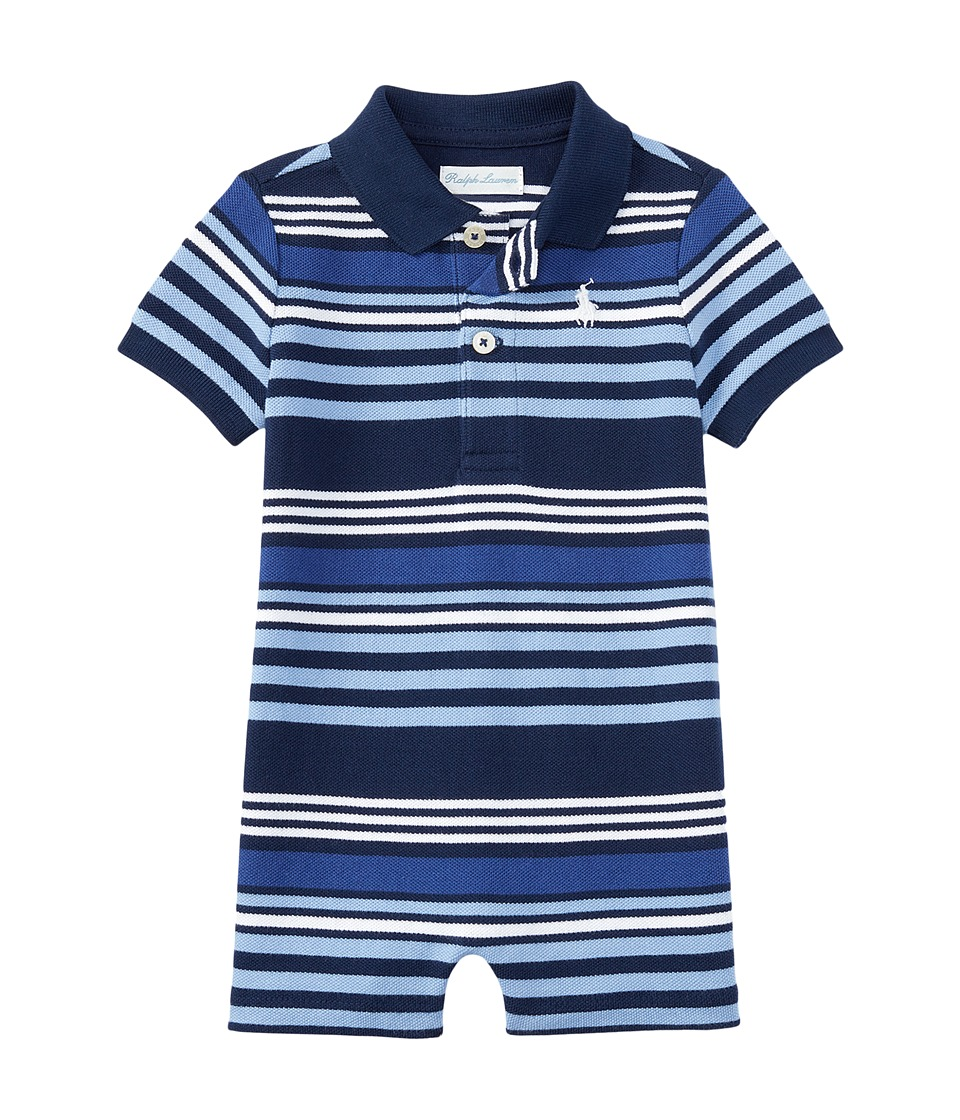 Ralph Lauren Baby - Yarn-Dyed Mesh Stripe Polo One-Piece Shortalls (Infant) (Spring Navy Multi) Boy's Overalls One Piece