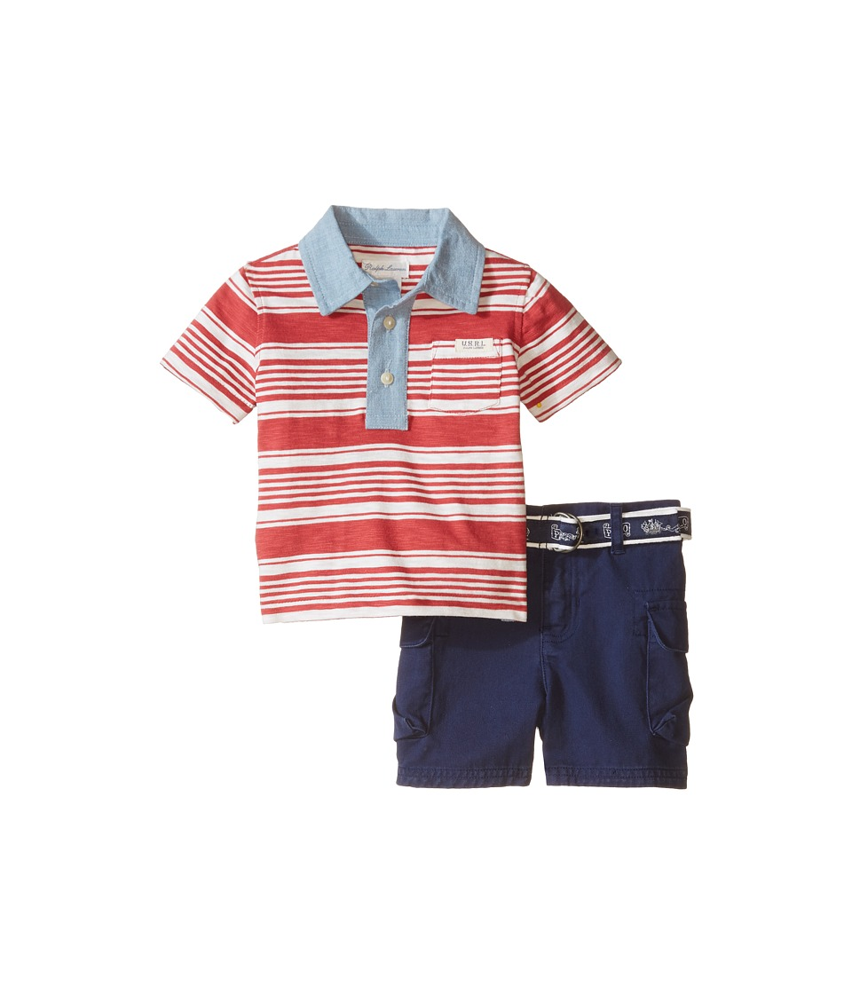 Ralph Lauren Baby - Yarn-Dyed Jersey Stripe Polo Short Set (Infant) (Sedona Orange Multi) Boy's Active Sets
