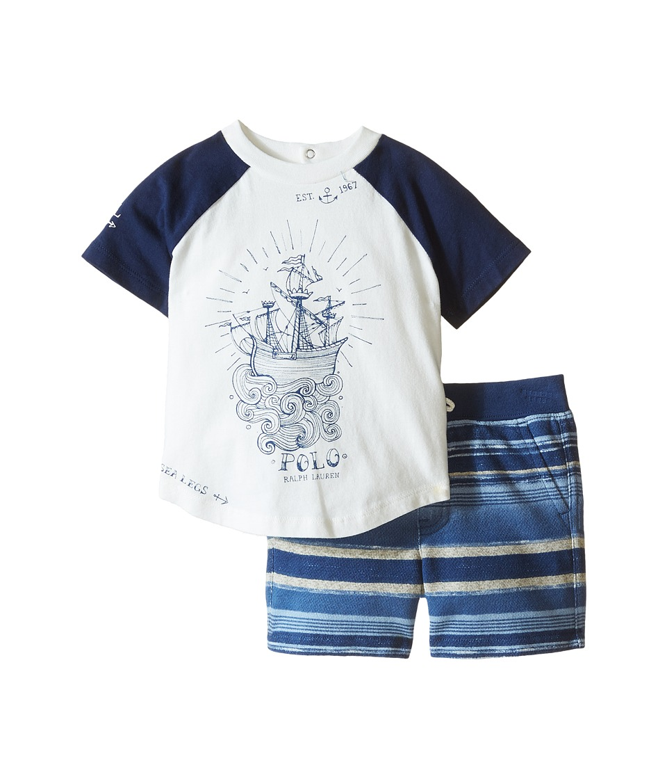 Ralph Lauren Baby - Jersey Stripe Short Set (Infant) (Fall Royal) Boy's Active Sets