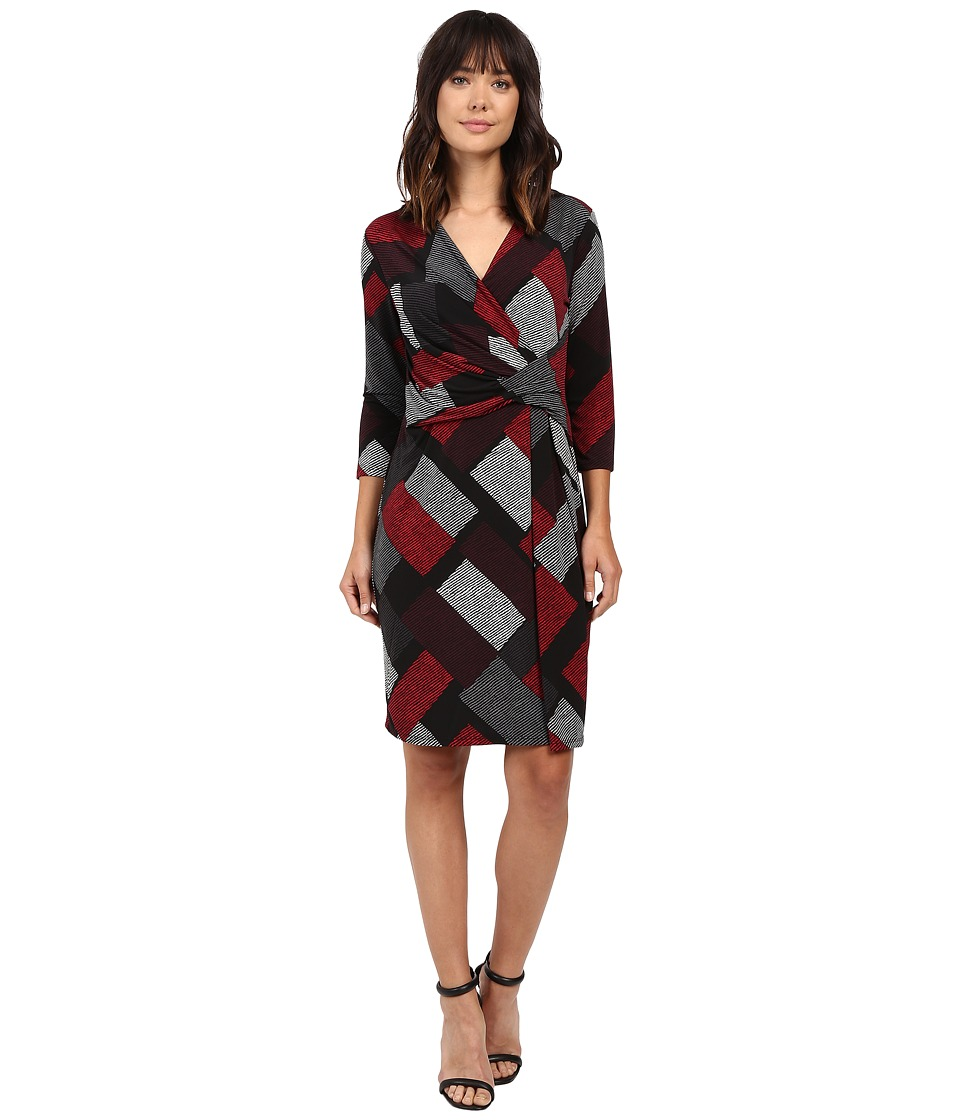 Ellen Tracy - Knit Twist Dress (Satorial Combo) Women's Dress
