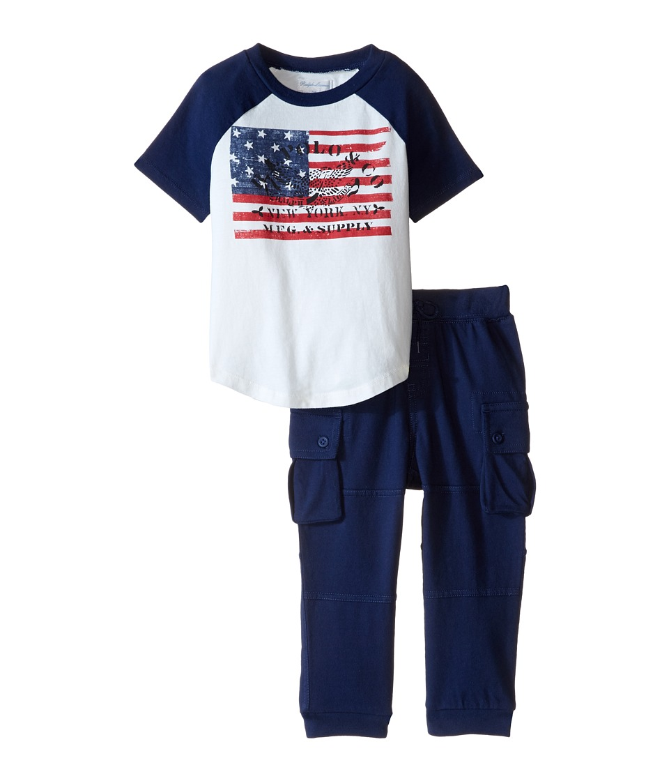 Ralph Lauren Baby - Jersey Cargo Pants Set (Infant) (Antique White) Boy's Active Sets