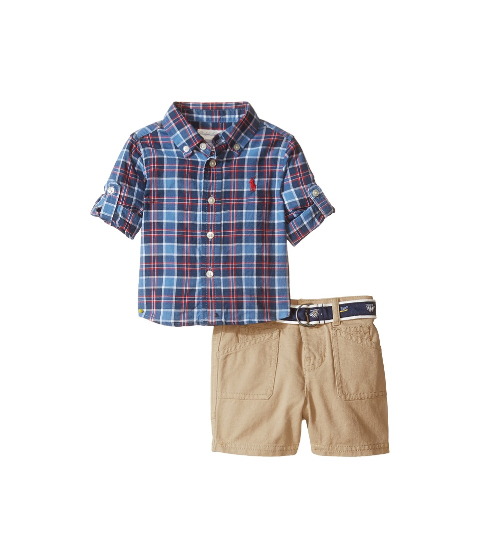 Ralph Lauren Baby - Yarn-Dyed Madras Plaid Short Set (Infant) (Blue/Navy Multi) Boy's Active Sets