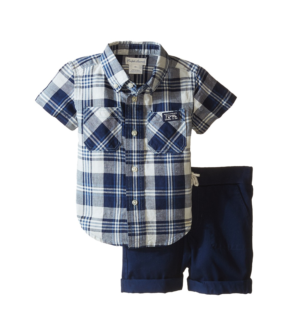 Ralph Lauren Baby - Yarn-Dyed Twill Plaid Short Set (Infant) (Cream/Indigo Multi) Boy's Active Sets