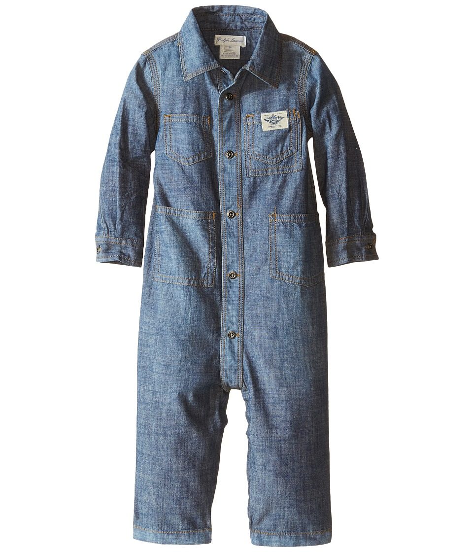 Ralph Lauren Baby - Chambray One-Piece Coveralls (Infant) (Indigo) Boy's Overalls One Piece