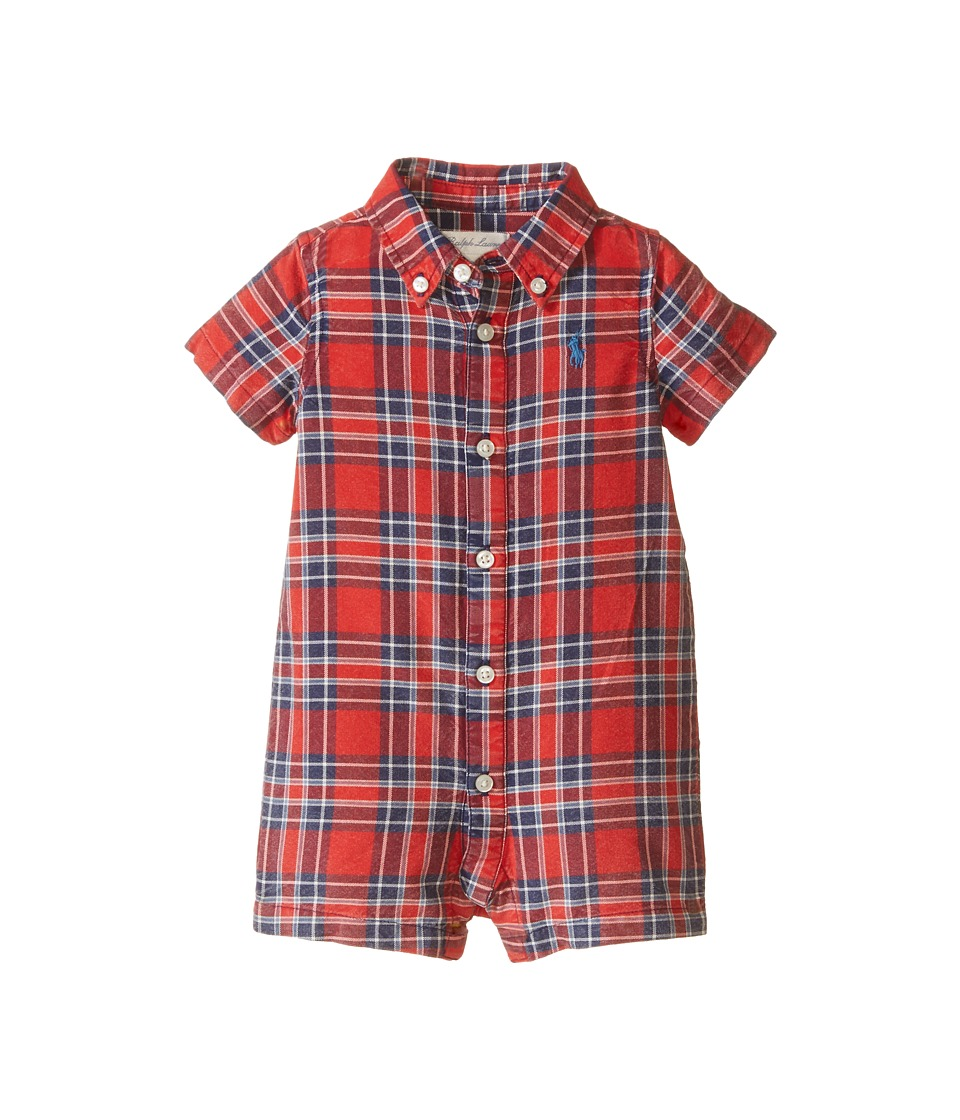Ralph Lauren Baby - Kensington One-Piece Shortalls (Infant) (Red/Navy Multi) Boy's Overalls One Piece