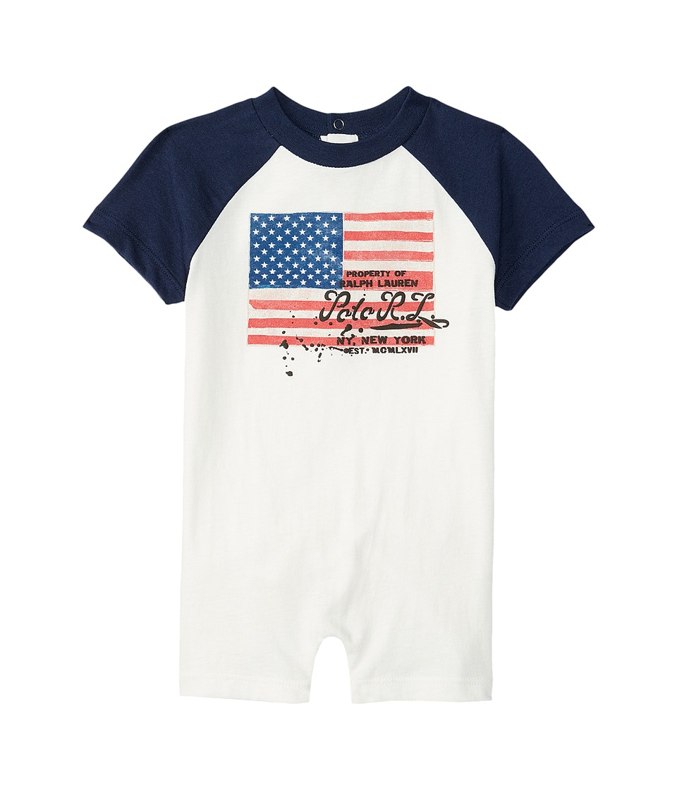 Ralph Lauren Baby - Flag One-Piece Shortalls (Infant) (Antique White) Boy's Overalls One Piece