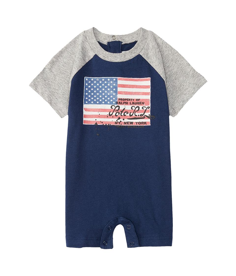 Ralph Lauren Baby - Flag One-Piece Shortalls (Infant) (Spring Navy) Boy's Overalls One Piece