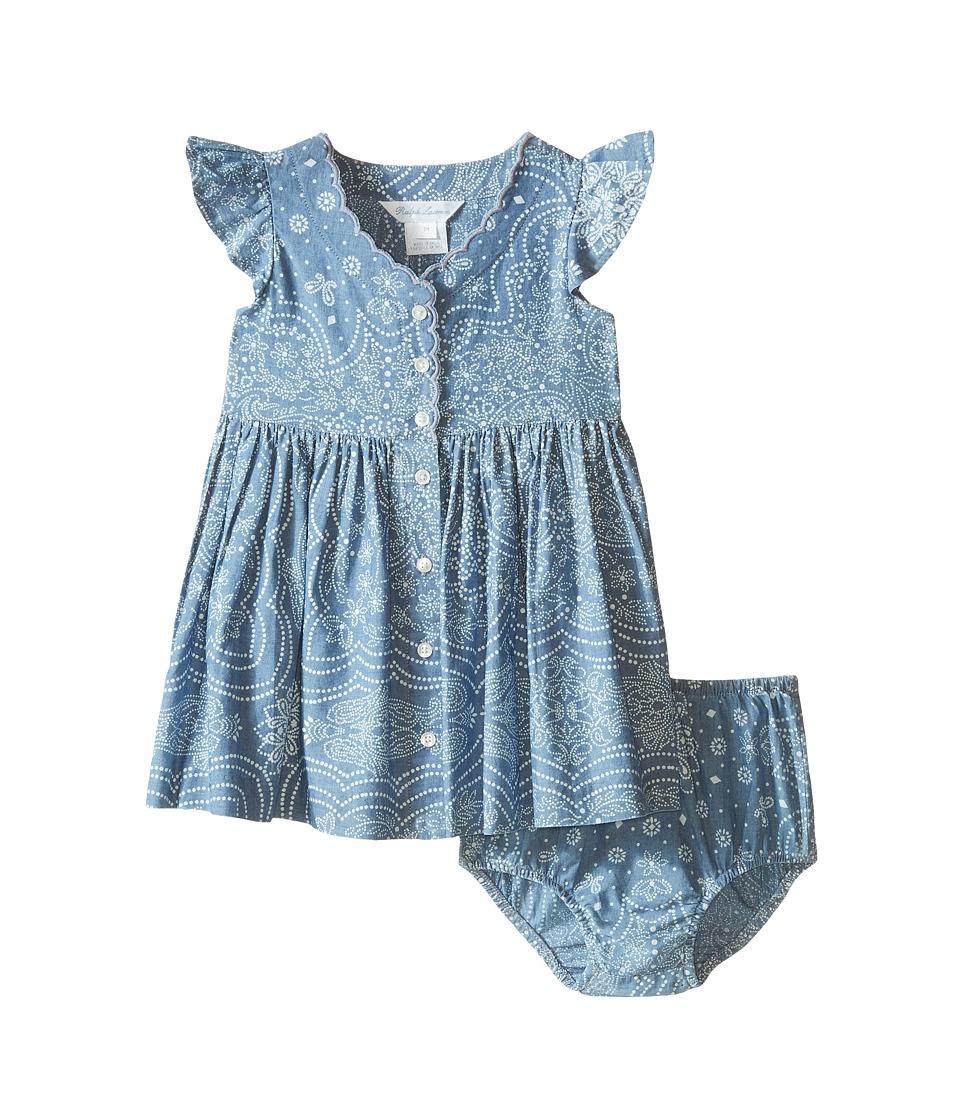 Ralph Lauren Baby - Chambray Woven Dress (Infant) (Indigo/Cream) Girl's Dress