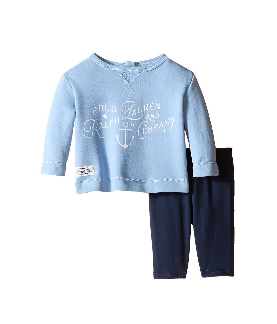Ralph Lauren Baby - French Terry Indigo Leggings Set (Infant) (Blue Multi) Girl's Active Sets