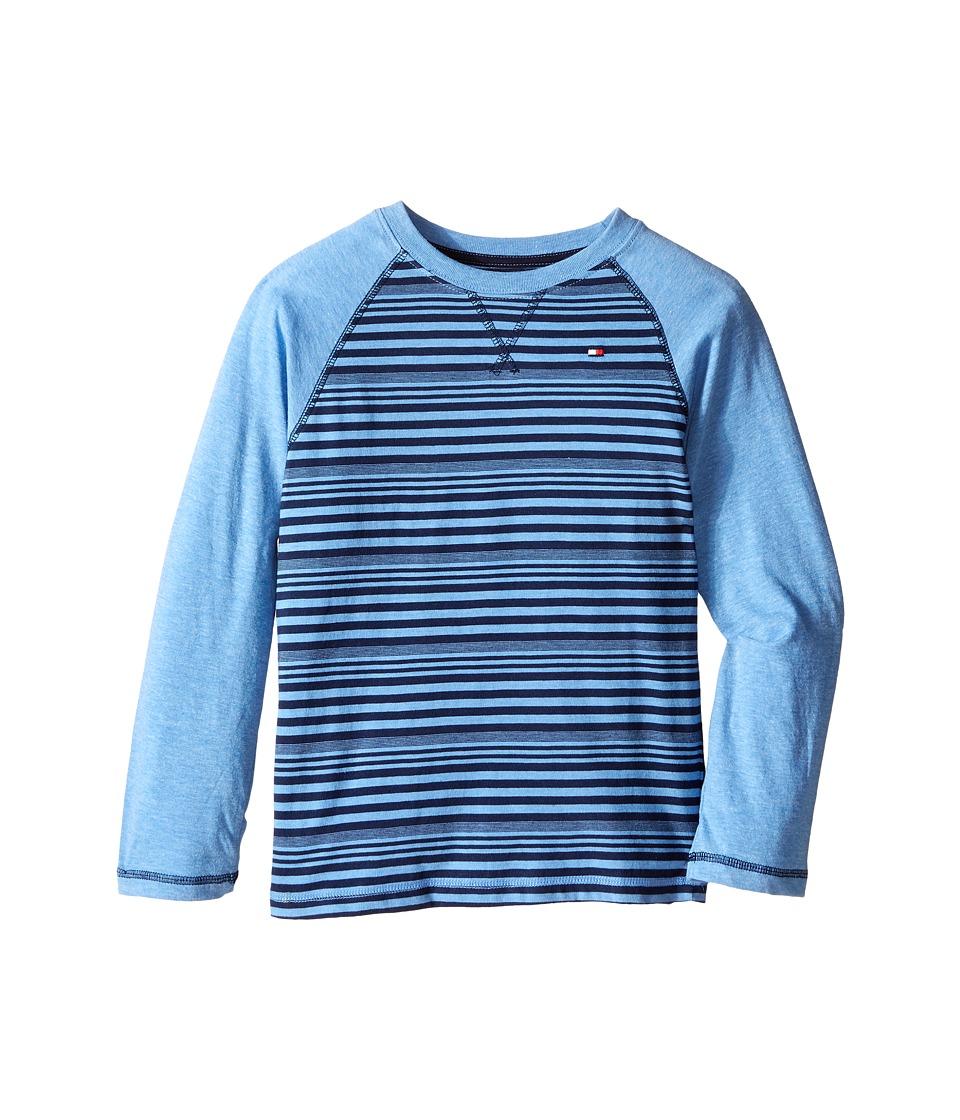 Tommy Hilfiger Kids - Alexa Stripe Jersey Long Sleeve Tee (Toddler/Little Kids) (Blue Dream Heather) Boy's T Shirt