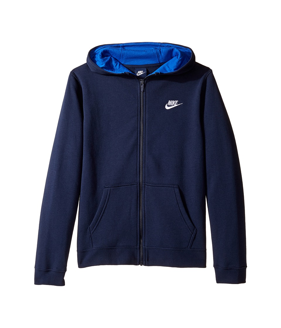 Nike Kids - Sportswear Club Hoodie (Little Kids/Big Kids) (Obsidian/Game Royal/White) Boy's Sweatshirt