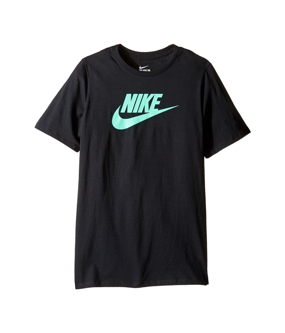 Nike Kids - Futura Icon Tee (Little Kids/Big Kids) (Black/Green Glow) Boy's Short Sleeve Pullover
