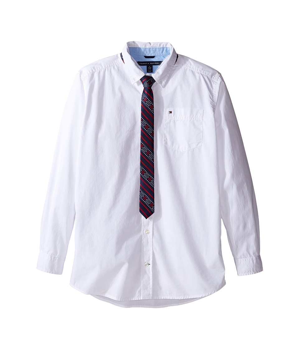 Tommy Hilfiger Kids - Kramer Long Sleeve Shirt with Tie (Big Kids) (White) Boy's Clothing