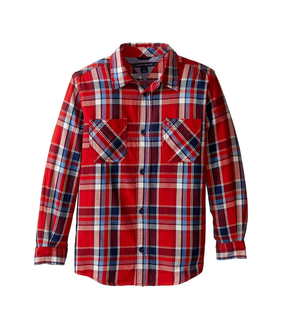 Tommy Hilfiger Kids - Jazz Long Sleeve Shirt (Toddler/Little Kids) (Apple Red) Boy's Clothing
