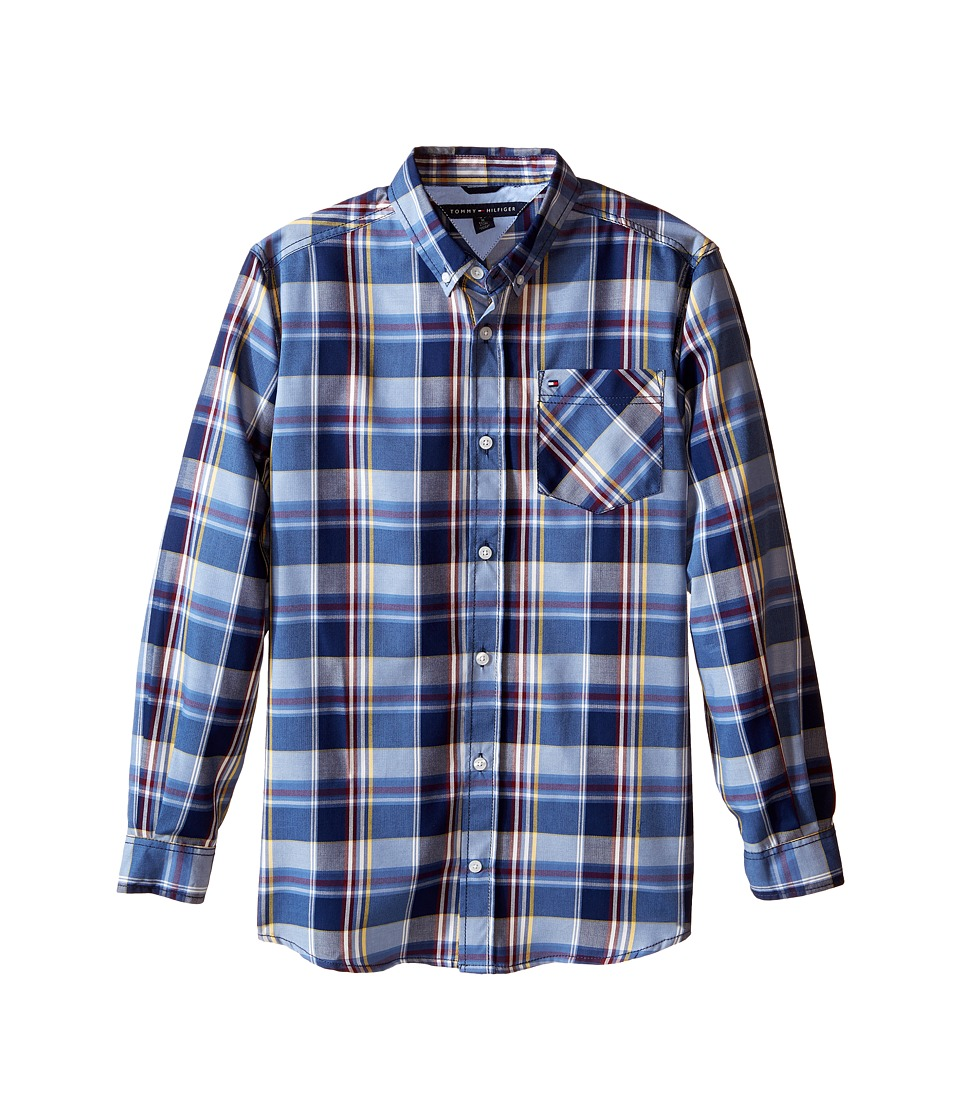 Tommy Hilfiger Kids - Kingsley Woven Long Sleeve Shirt (Big Kids) (Flag Blue) Boy's Clothing