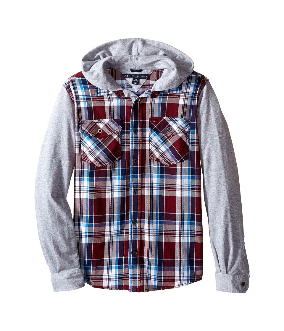Tommy Hilfiger Kids - Kelsey Hooded Long Sleeve Woven Shirt (Big Kids) (Deep Wine) Boy's Clothing