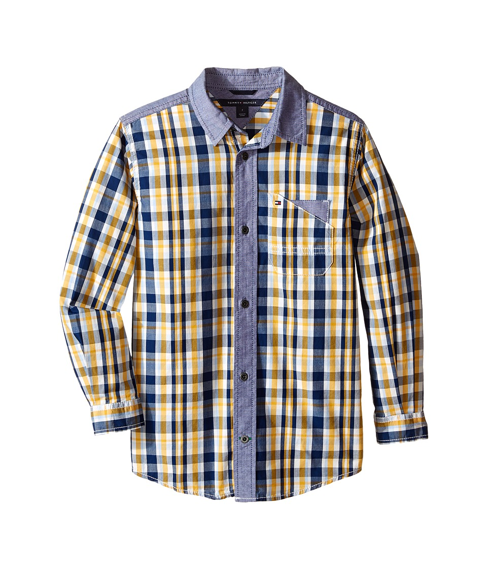 Tommy Hilfiger Kids - Christopher Long Sleeve Woven Shirt (Toddler/Little Kids) (Worn Indigo) Boy's Clothing