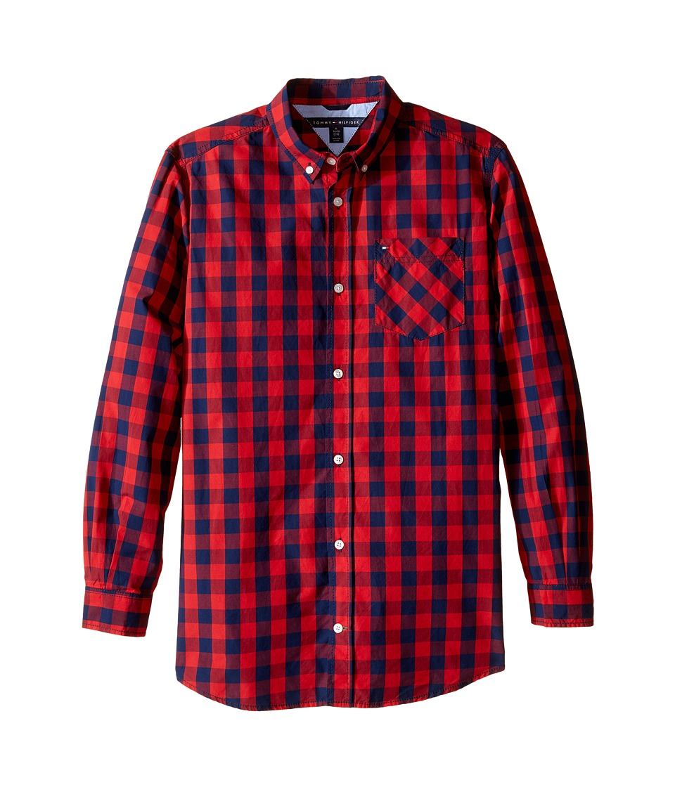 Tommy Hilfiger Kids - Hayes Woven Long Sleeve Shirt (Big Kids) (Apple Red) Boy's Clothing