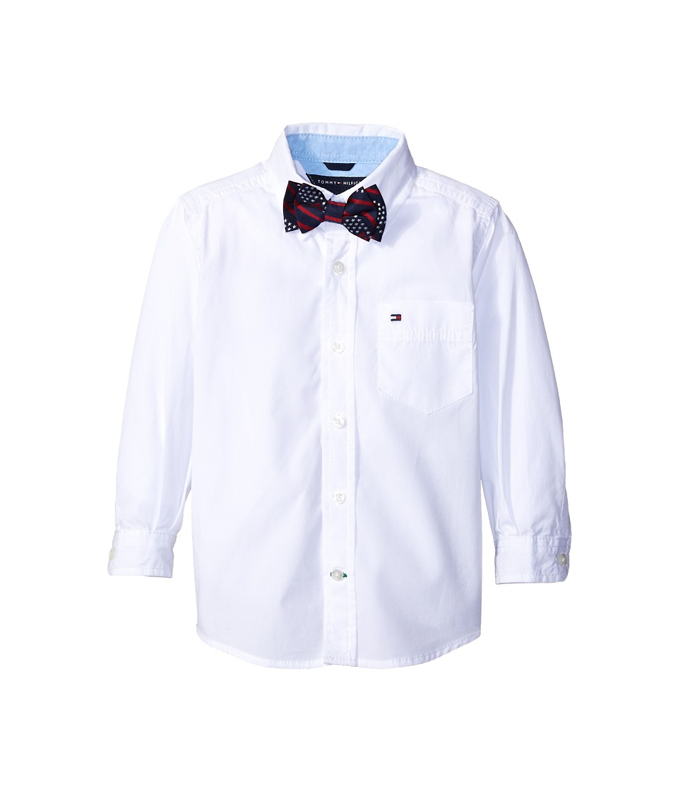 Tommy Hilfiger Kids - Kramer Long Sleeve Shirt with Bow Tie (Toddler/Little Kids) (White) Boy's Clothing