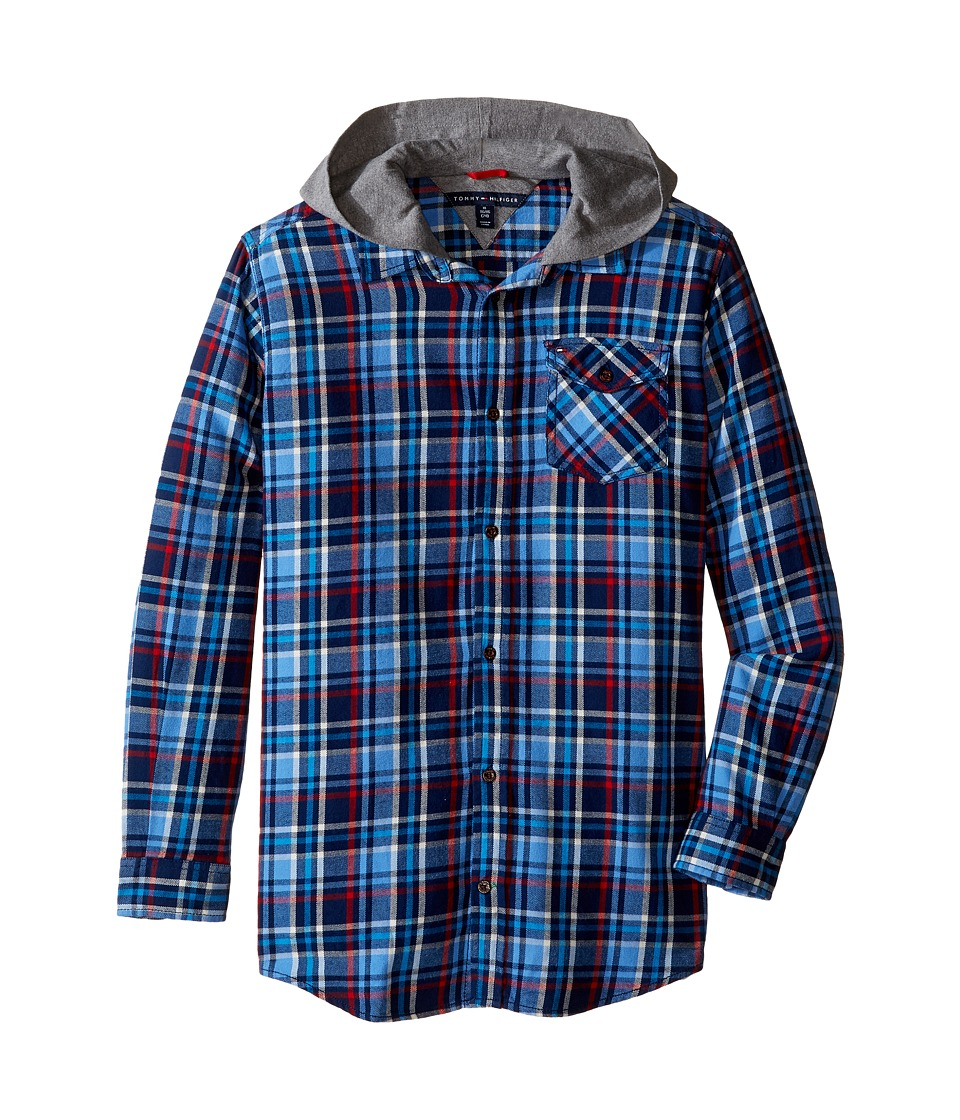 Tommy Hilfiger Kids - Yates Long Sleeve Hooded Shirt (Big Kids) (Flag Blue) Boy's Clothing