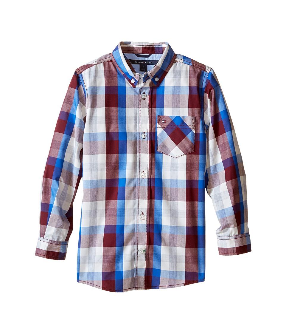 Tommy Hilfiger Kids - Morgan Woven Long Sleeve Shirt (Toddler/Little Kids) (Deep Wine) Boy's Clothing