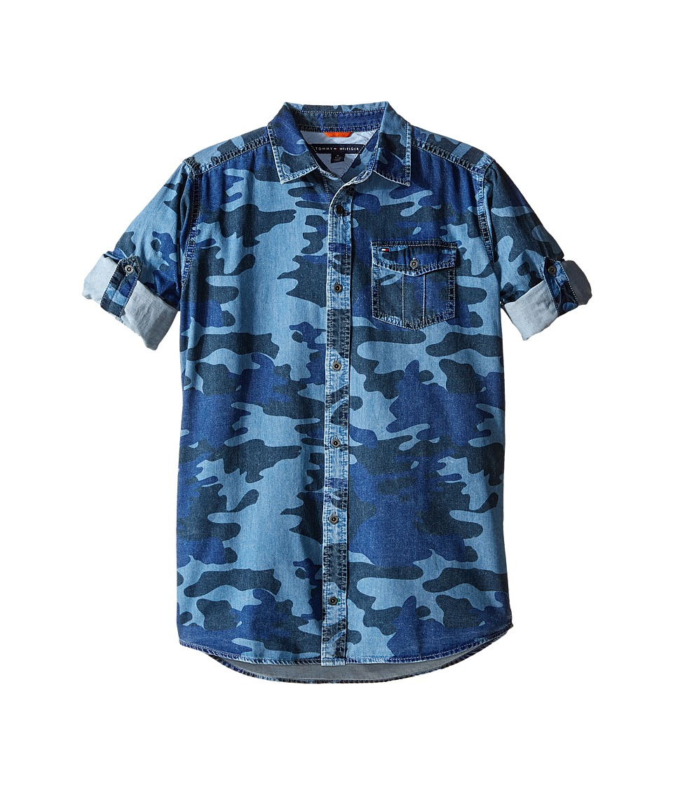 Tommy Hilfiger Kids - Camo Printed Long Sleeve Shirt (Big Kids) (Swim Navy) Boy's Clothing