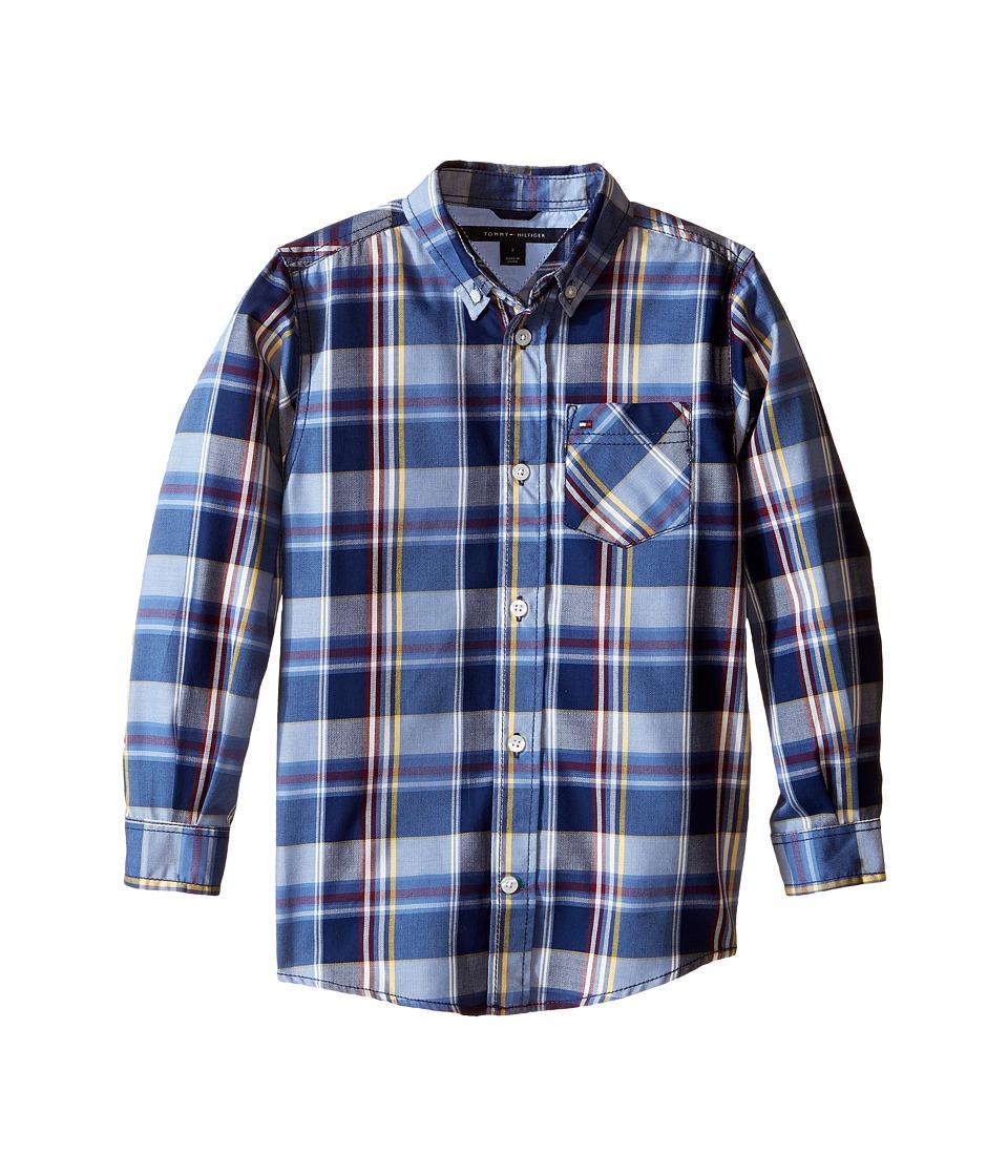 Tommy Hilfiger Kids - Kingsley Woven Long Sleeve Shirt (Toddler/Little Kids) (Flag Blue) Boy's Clothing