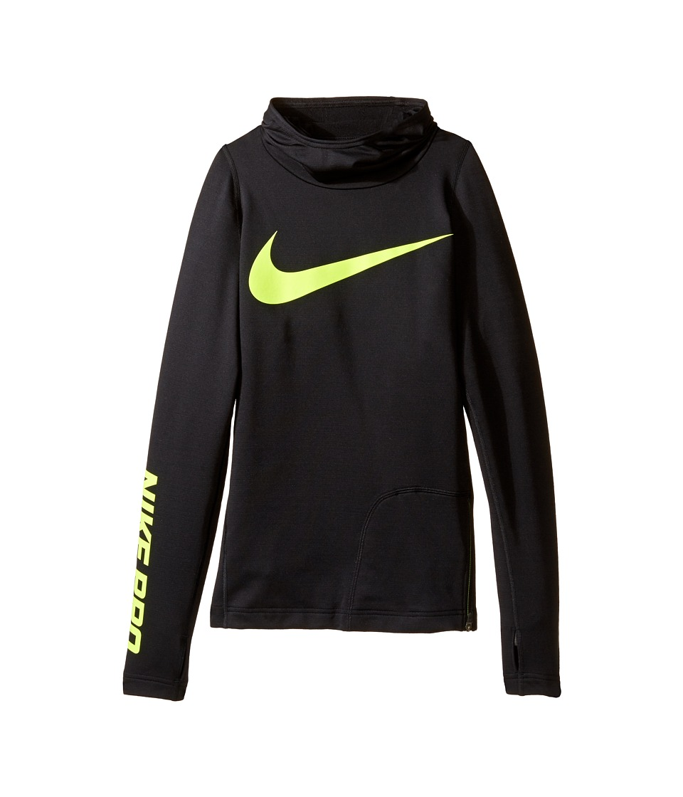 Nike Kids - Pro HyperWarm Hoodie (Little Kids/Big Kids) (Black/Volt) Boy's Sweatshirt