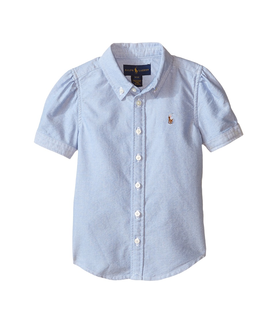 Polo Ralph Lauren Kids - Classic Solid Oxford Shirt (Toddler) (BSR Blue) Girl's Long Sleeve Button Up
