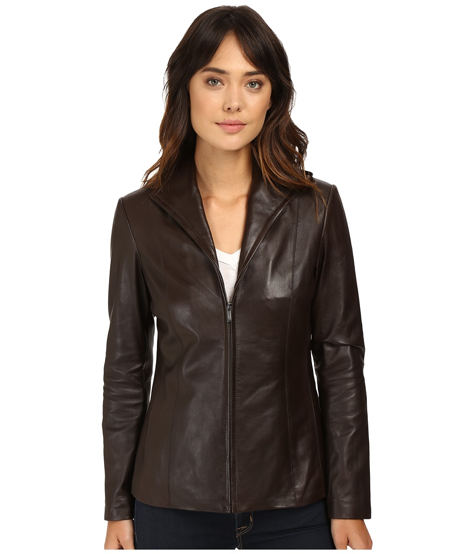 Cole Haan - Lamb Leather Zip Front Jacket (Espresso) Women's Jacket