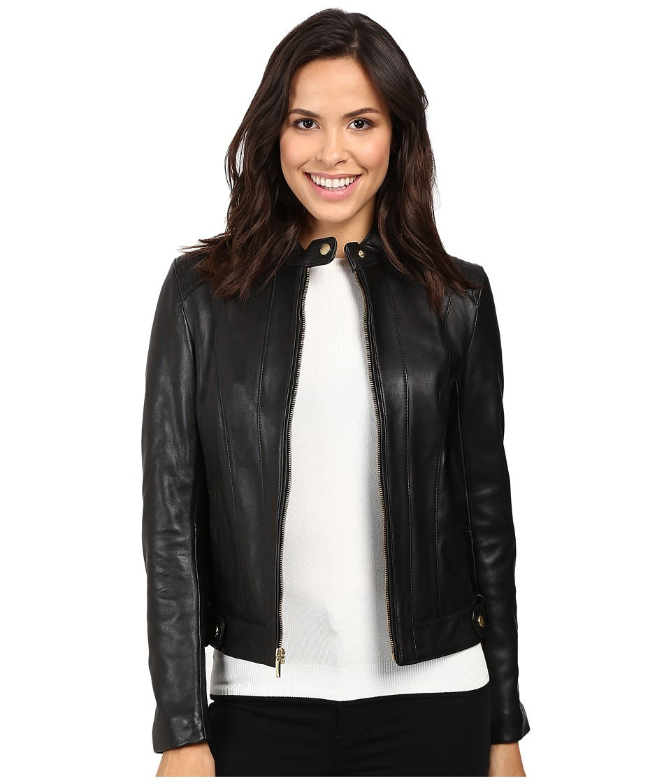 Cole Haan - Leather Racer Jacket with Quilted Panels (Black) Women's Jacket