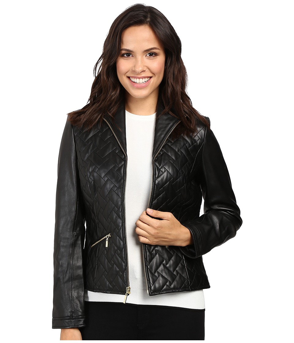 Cole Haan - Essential Quilt Zip Front Wing Collar Leather Jacket (Black) Women's Jacket