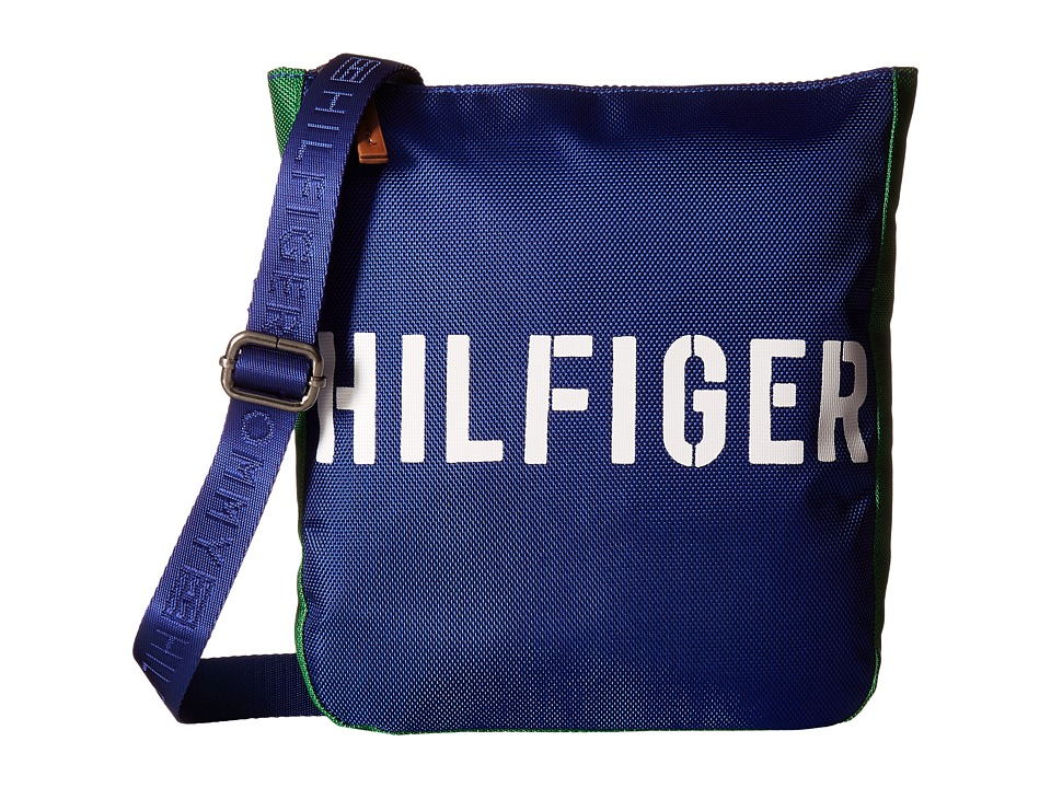 Tommy Hilfiger - Hilfiger Color Block - Flat Crossbody (Blue/Green) Cross Body Handbags