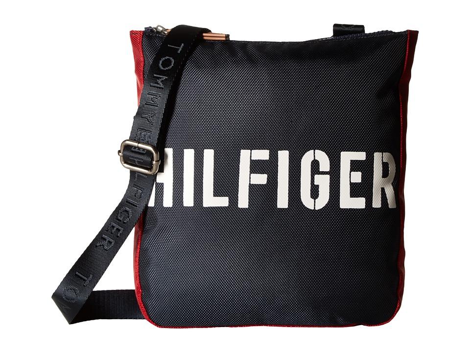 Tommy Hilfiger - Hilfiger Color Block - Flat Crossbody (Navy/Red) Cross Body Handbags