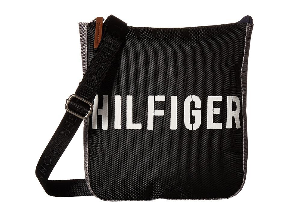 Tommy Hilfiger - Hilfiger Color Block - Flat Crossbody (Black/Gray) Cross Body Handbags