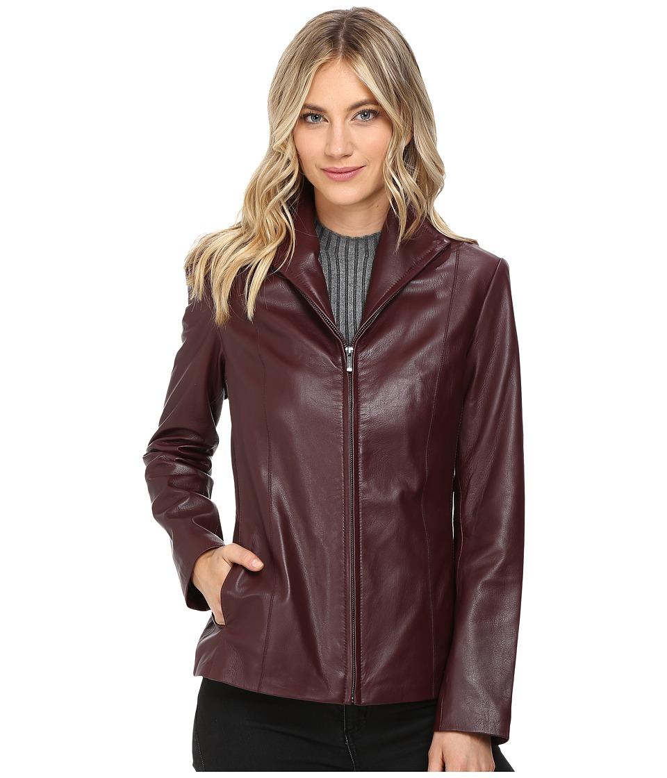 Cole Haan - Lamb Leather Zip Front Jacket (Deep Berry) Women's Jacket