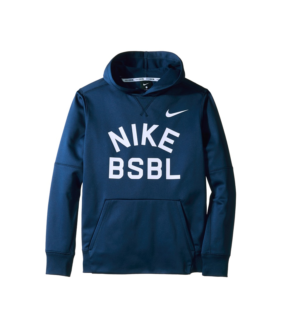 Nike Kids - Therma Hoodie (Little Kids/Big Kids) (Midnight Navy/Pure Platinum) Boy's Sweatshirt