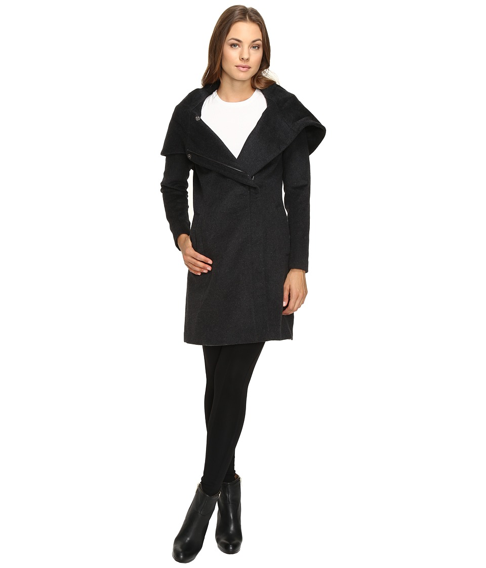 Cole Haan - Hooded Asymmetrical Zip Front Coat (Charcoal) Women's Coat